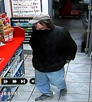 A suspect is shown in the 4:54 p.m. robbery Sunday at Ron's Shell in Edwardsville. Anyone with information about the robbery, contact Sgt. Mike Lybarger of the Edwardsville Police Department at 618-656-2131.