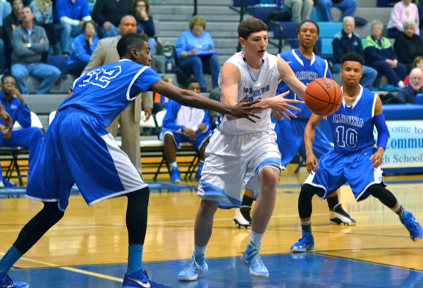 Drake Kanallakan moves to the ball in a Jersey Tourney game against Cahokia on Tuesday night.