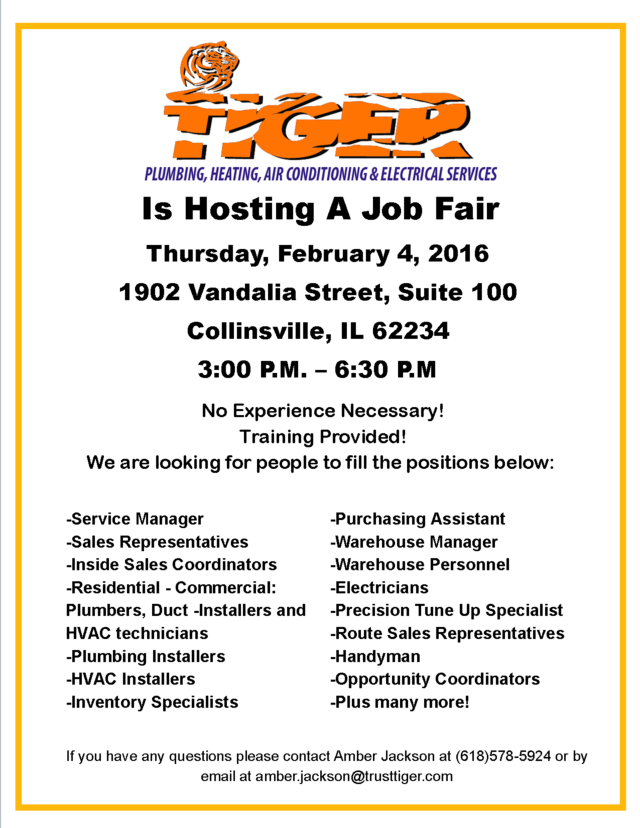 Flyer for the Tiger Job Fair