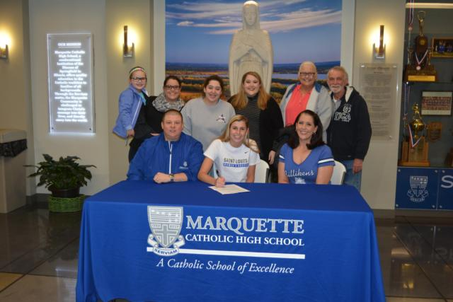 Marquette Catholic's Annabelle Copeland signs with St. Louis University to play soccer. (Photo by Dan Brannan)