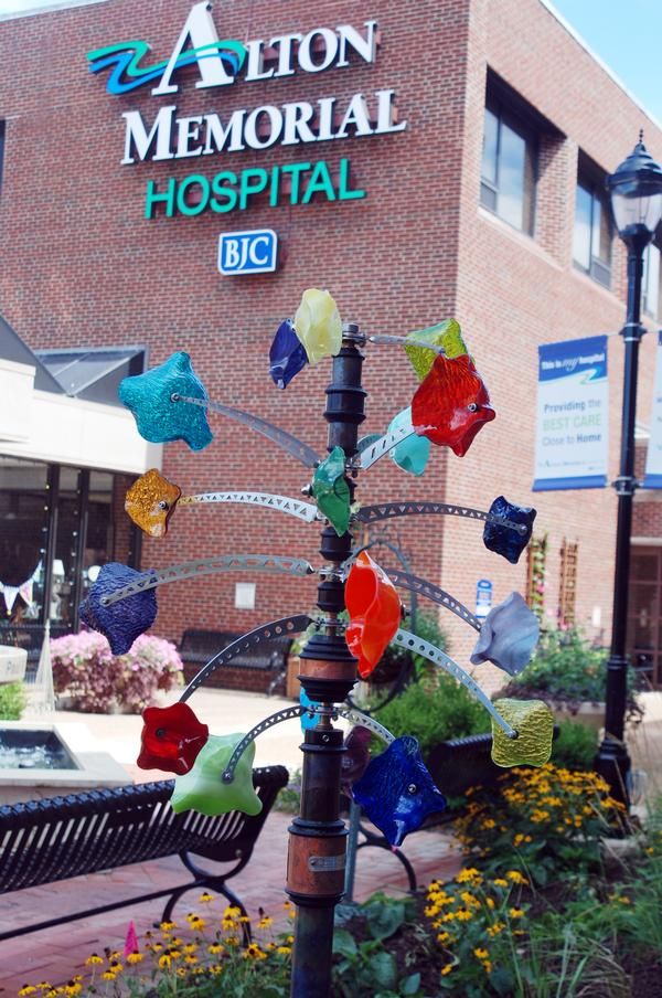 The wind sculpture in memory of Ann Wiltshire stands in the Healing Garden at Alton Memorial Hospital.